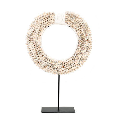 The Papua Shell Disc on Stand - White - M