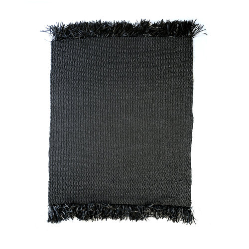 The Raffia Fringed Carpet - Black
