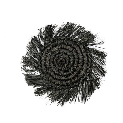 The Fringe Raffia Coaster - Black