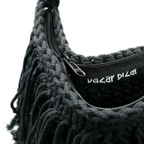 The Fringed Macrame Bag - Black