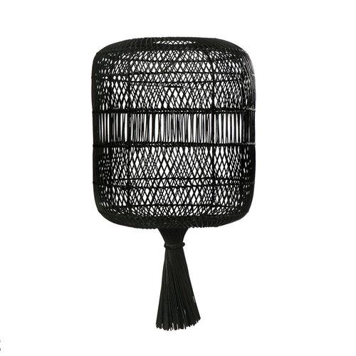 The Rattan Dumpling Floor Lamp - Pendant - Black