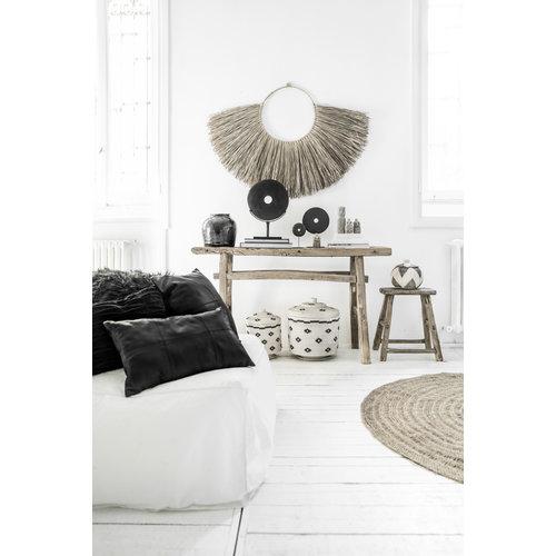 The Fringed Velvet Cushion - Black