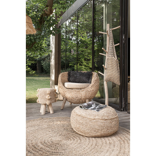 The Raffia Pom Pom Stool - Natural