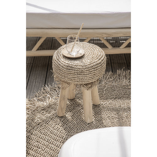 The Raffia Fringed Stool - Natural
