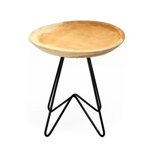 The Rain Tree Side Table - Natural Black