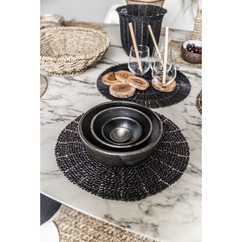The Alang Alang Placemat - Round - Black
