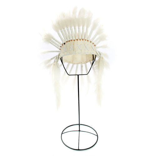 The Indian Headdress on Stand - White