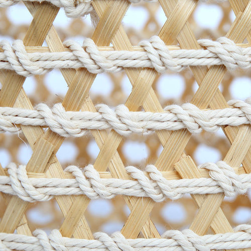 The Bamboo Macrame Baskets - Natural White - Large