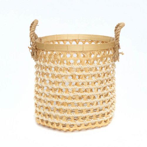 The Bamboo Macrame Baskets - Natural White - Medium