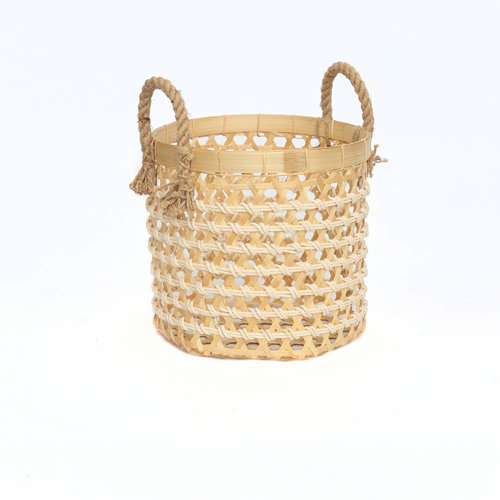 The Bamboo Macrame Baskets - Natural White - Small