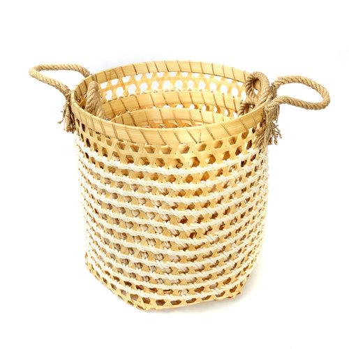 The Bamboo Macrame Baskets - Natural White - Set 3
