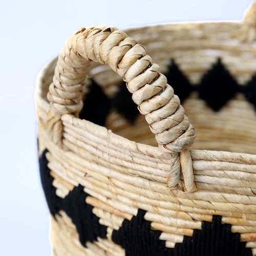 The Banana Stitched Baskets - Natural Black - Medium