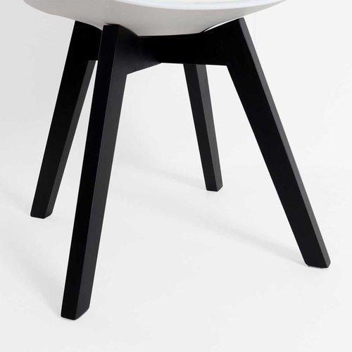 Radice Madera leren eetkamerstoel - Zwart houten onderstel - Zwart