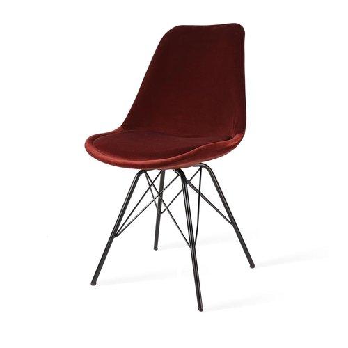 Radice Poluga - Velvet eetkamerstoel - Metalen onderstel zwart - Rood