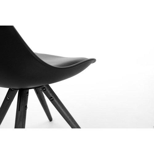 Radice Legno Stoel - Kunststof met Zwart Onderstel - Zwart