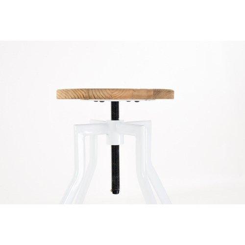 Industriële Kruk - Metaal met Houten Zitting - Zwart & Wit