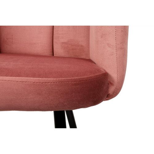 High Vijf Stoel - Roze - Velvet - set van 2