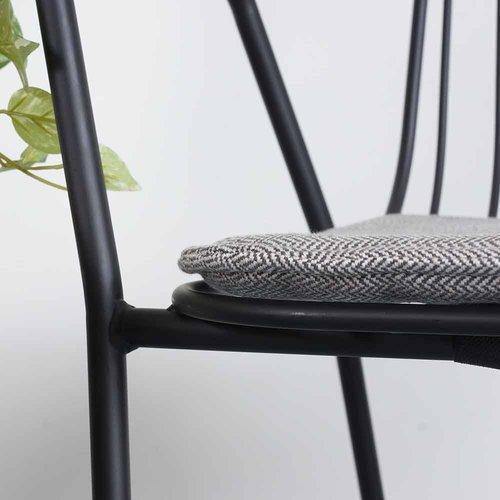 Manhattan Morris - Metalen Tuinstoel met armleuningen - Mat Zwart