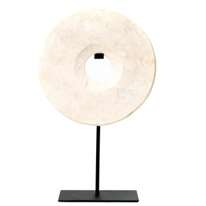 BB The Marble Disc on Stand - White - L