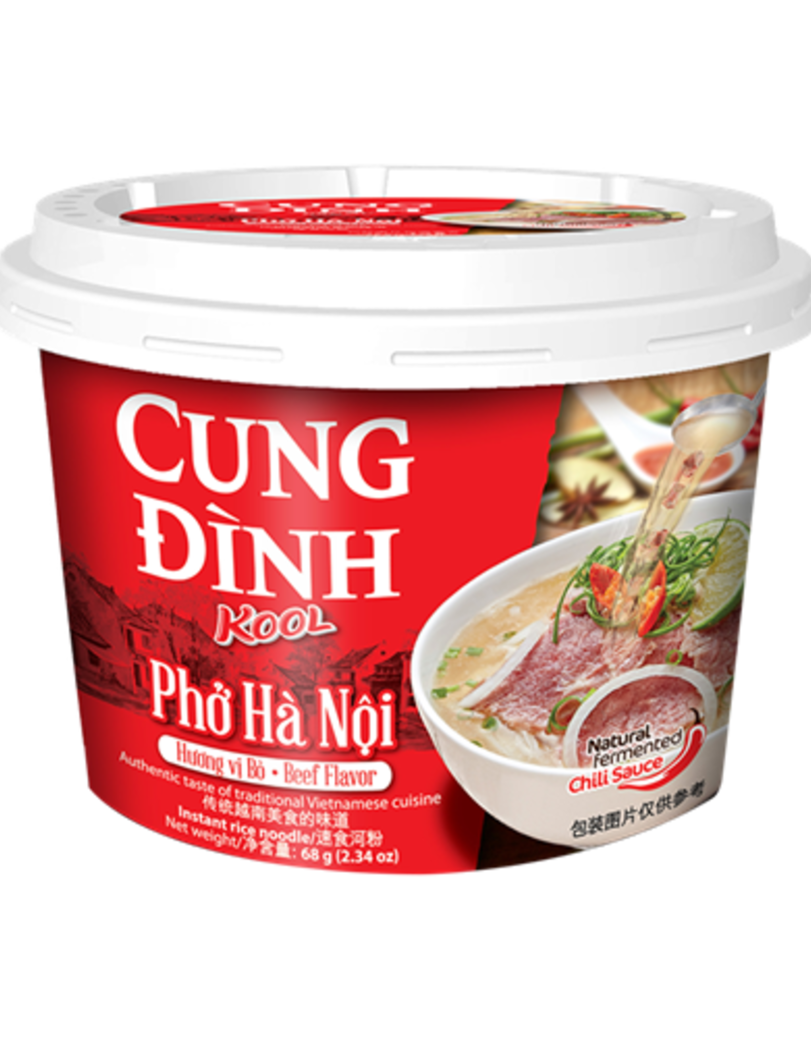 Cung Dinh Inst Rijstnoedels Kool Merk - Pho Bo (Cup) 68g
