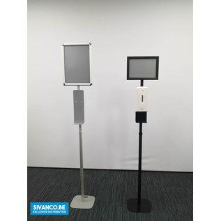 Ontsmetter.be A4 display met automatische dispenser op voet