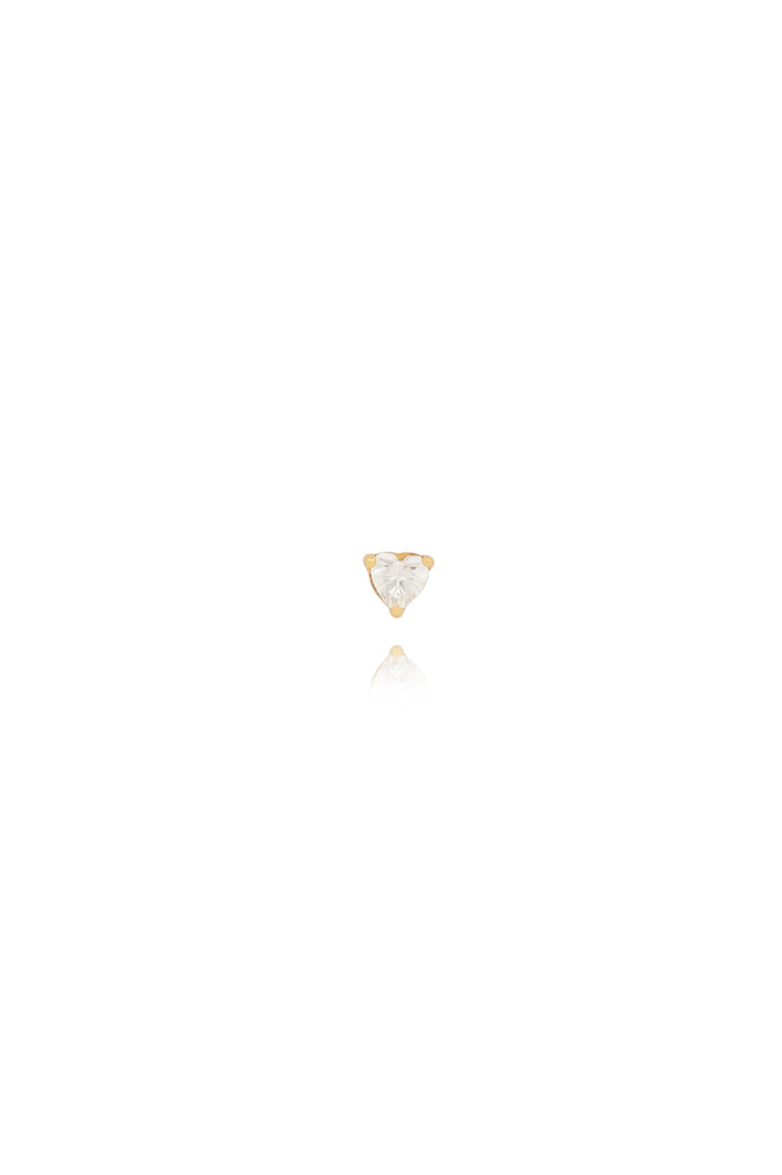 T.I.T.S. CRYSTAL HEART STUD GOLD