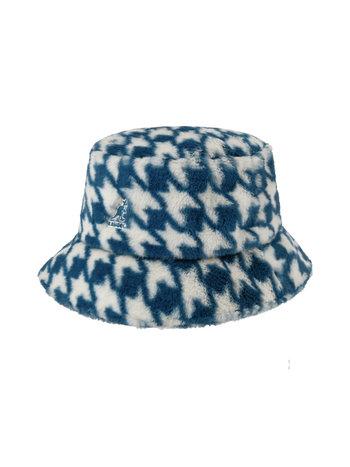 Kangol FAUX FUR BUCKET BLUE HOUNDSTOOTH