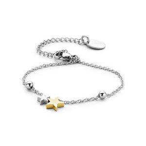 Roestvrijstalen armband met duo-kleur sterren
