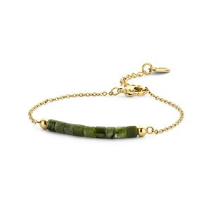 Goud ion plated armband met legergroene natuurstenen