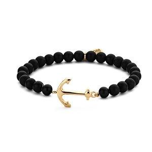 Zwart emaille kralenarmband met gouden anker