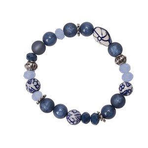 Armband met luxe Delftsblauwe kralen