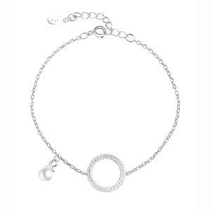 Zilveren armband  met zirconia cirkel en een parel