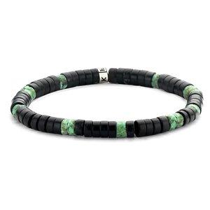 Matt Green and Black Agate Bracelet