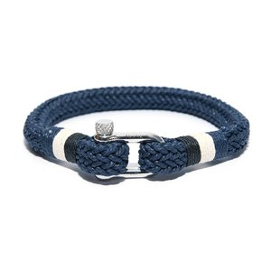 Blue Woven Bracelet with Black/White/Blue Rope