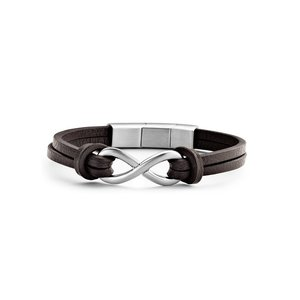 Dark Brown Leather Bracelet with Stainless Steel Infinity