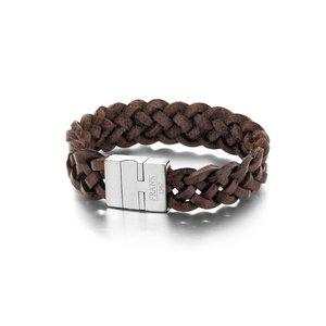 Bruin gevlochten leren armband