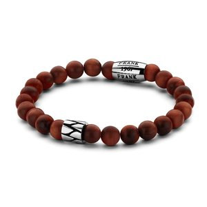 Red Wooden Beads Bracelet with Stainless Steel Beads