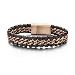 Brown/Rosegold Braided Leather and Steel Bracelet