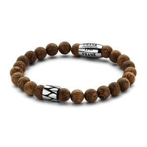 Light Brown Wooden Beads Bracelet with Stainless Steel Beads