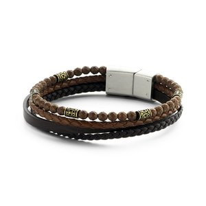 Brown Hematite beads and Leather Multi-Layer Bracelet with Stainless Steel