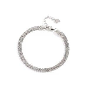 Zilveren platte zeer fijne armband