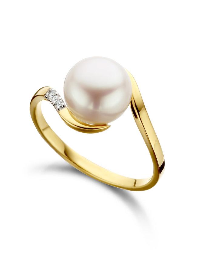 Ring goud 18kt met parel 0.015Ct 060752/A