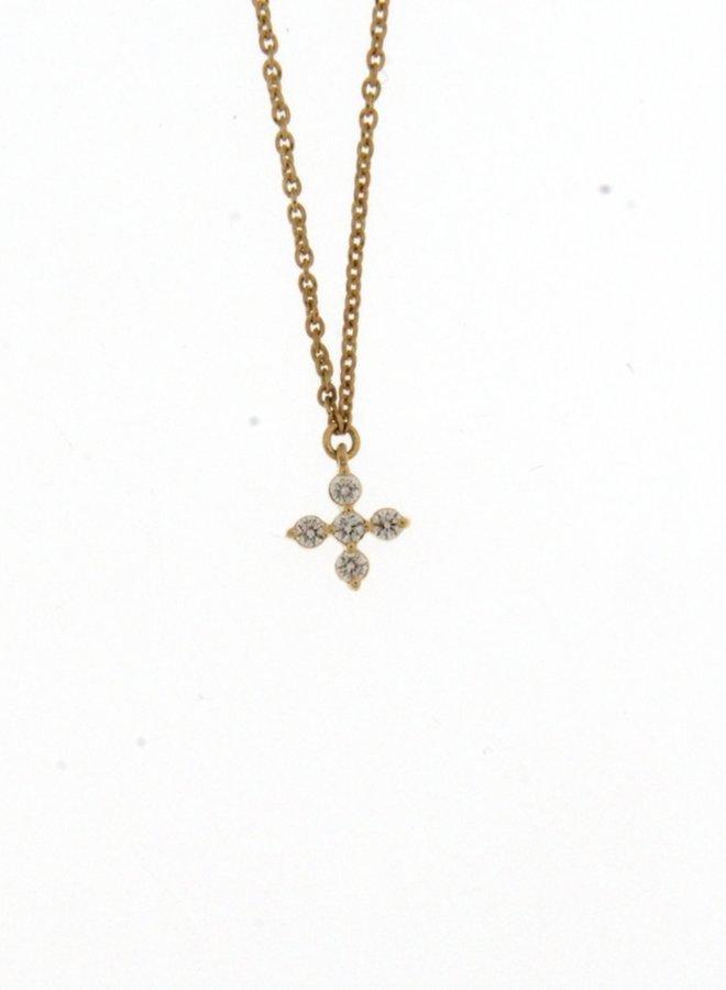 Ketting kruis Goud 18kt 062235/A 0.07Ct