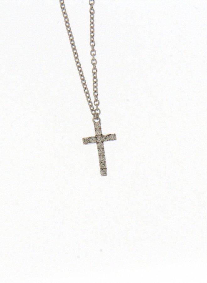 Ketting met kruis Goud 18kt 061116/A 0.06Ct