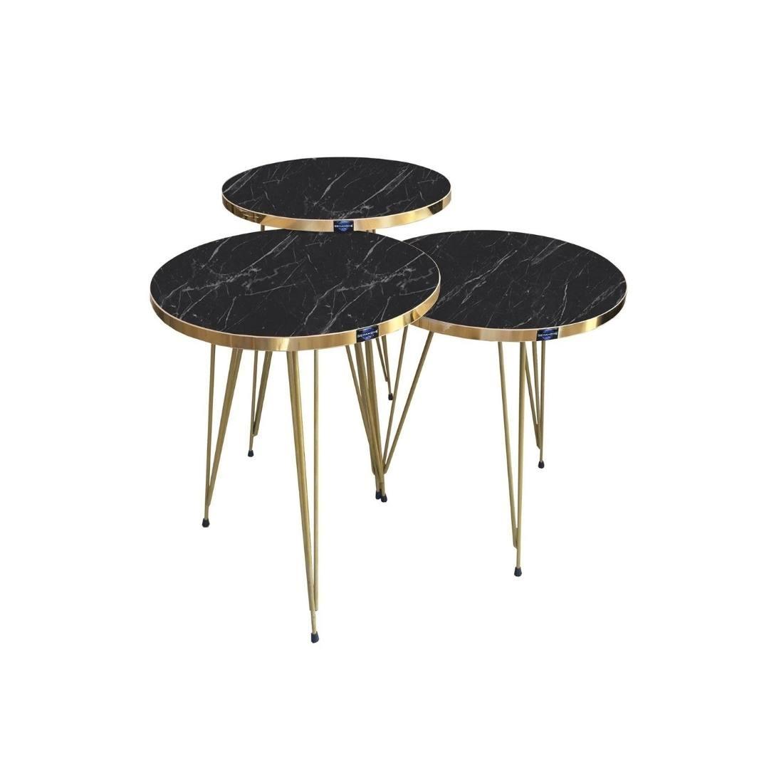 Side Tables 3 Mdf Round Black Marble Kadizi