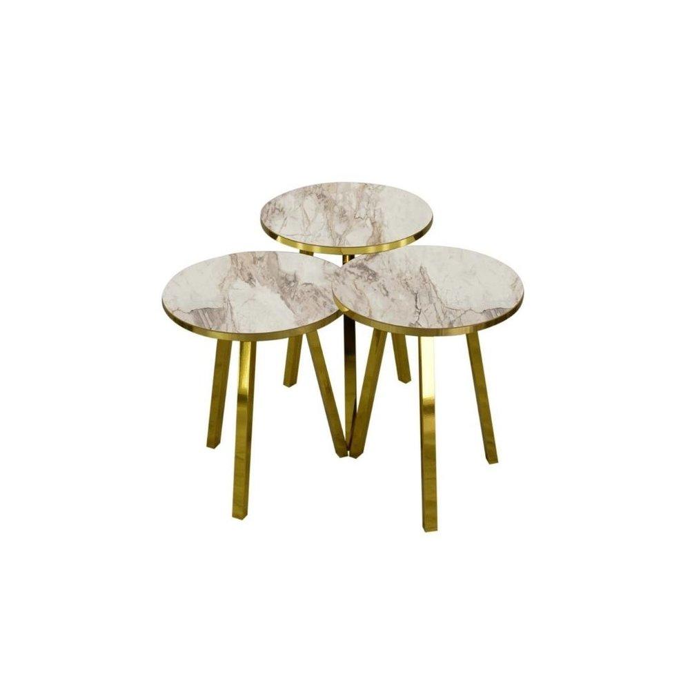 Side Tables 3 Mdf Round White Stone Kadizi