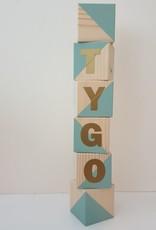 Momof3 Letterblokken: Muntgroen (geschilderd)