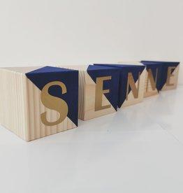 Momof3 Letterblokjes: Donkerblauw