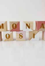 Momof3 Letterblokjes: Roos & wit