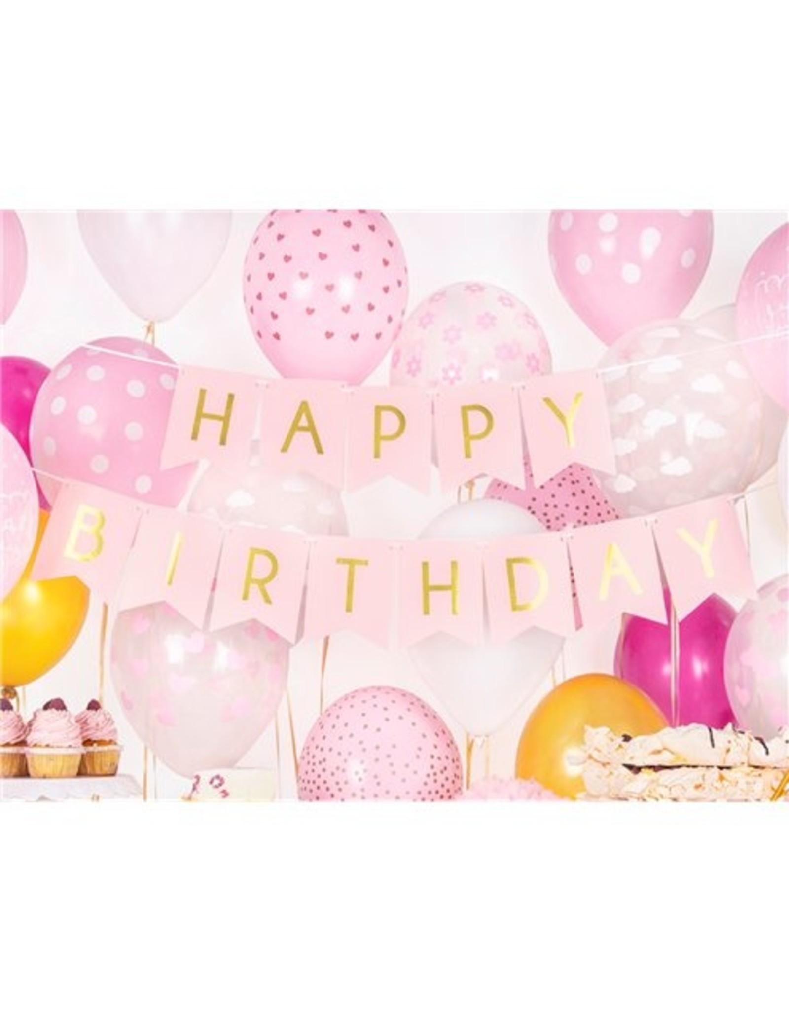 Happy birthday banner pink